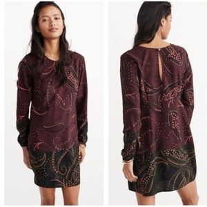 Abercombie & Fitch Long Sleeve Paisley Mini Dress